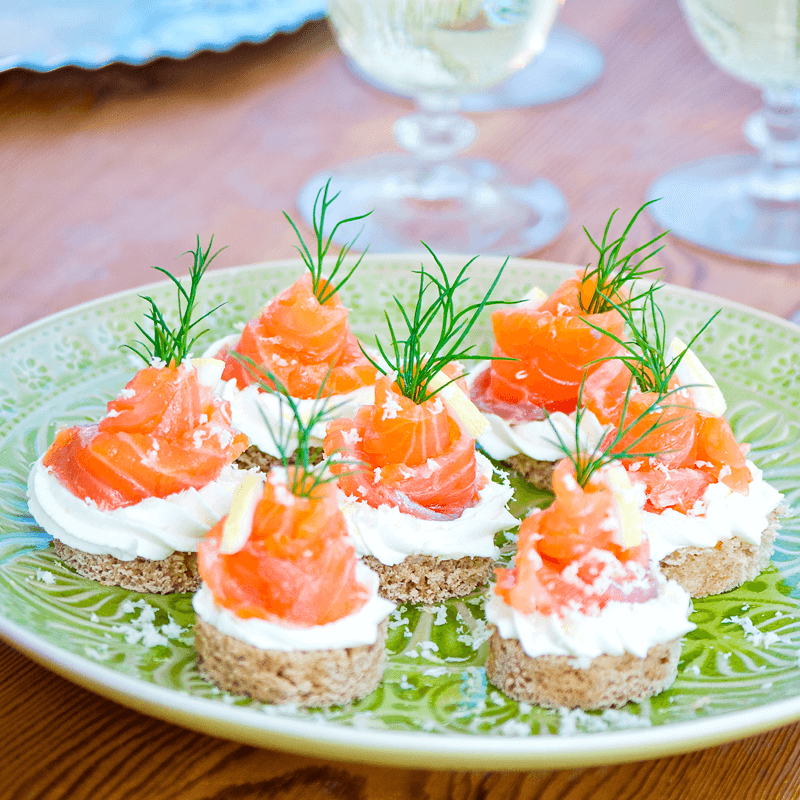 why not offer your guests some festive gluten free canaps using frias christmas loaf topped with smoked salmon and lemon the recipe makes 12 gluten free - Canapes